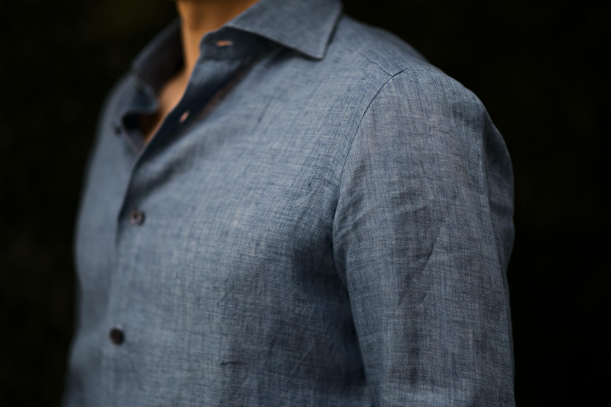 AVINO Laboratorio Napoletano(アヴィーノ・ラボラトリオ・ナポレターノ) Linen Dress Shirts (リネン ドレス シャツ) リネン100% ワイドカラー シャツ BLUE (ブルー) made in italy (イタリア製) 2020 春夏新作  【入荷しました】【フリー分発売開始】 愛知 名古屋 altoediritto アルトエデリット リネンシャツ