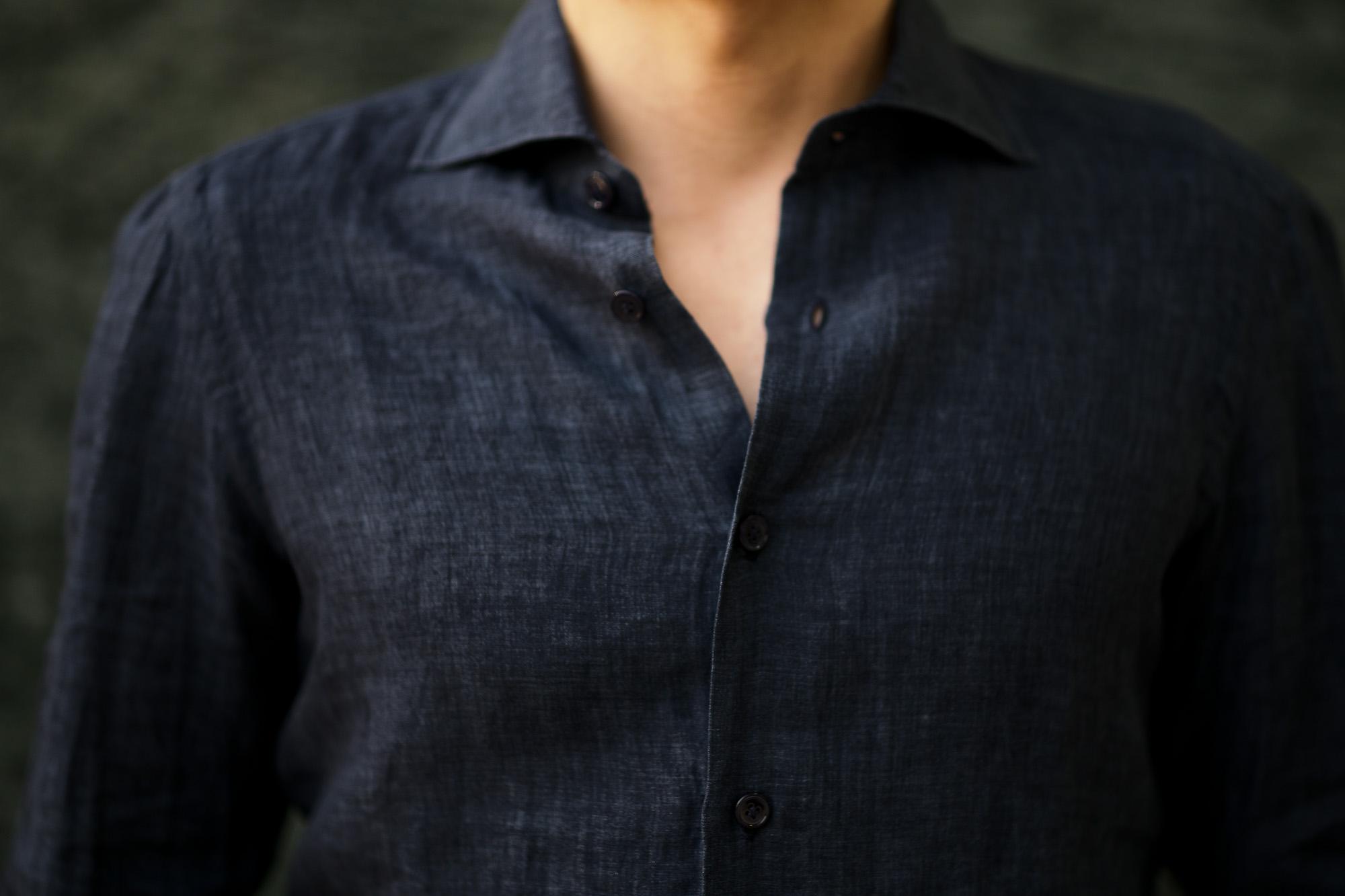 AVINO Laboratorio Napoletano(アヴィーノ・ラボラトリオ・ナポレターノ) Linen Dress Shirts (リネン ドレス シャツ) リネン100% ワイドカラー シャツ NAVY (ネイビー) made in italy (イタリア製) 2020 春夏新作 愛知 名古屋 altoediritto アルトエデリット リネンシャツ