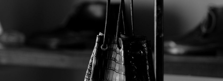 Cisei × 山本製鞄 (シセイ × 山本製鞄) Crocodile Bag(クロコダイルバック) Nile Crocodile Leather (ワニ革) ナイル クロコダイル レザードローストリングバック 巾着  BLACK(ブラック),NAVY(ネイビー),BROWN(ブラウン)  Made in Japan (日本製) 2020 秋冬 【ご予約受付中】のイメージ