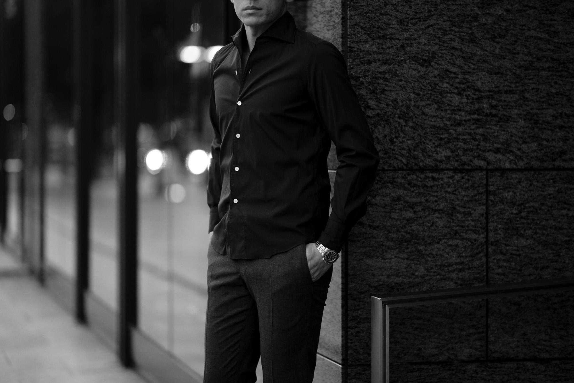 Finamore (フィナモレ) SEUL ITALIAN COLOR SILK SHIRTS シルク ワンピースカラー シャツ BLACK (ブラック・7) made in italy (イタリア製) 2020 秋冬 【ご予約受付中】愛知 名古屋 altoediritto アルトエデリット シルクシャツ シャツコーデ イタリアンカラーシャツ