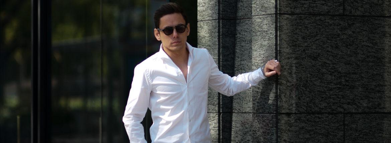 Finamore (フィナモレ) SEUL ITALIAN COLOR STRETCH COTTON SHIRTS ストレッチコットン ワンピースカラー シャツ WHITE (ホワイト・01) made in italy (イタリア製) 2020 春夏新作のイメージ