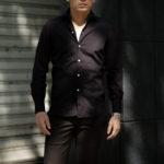 Finamore (フィナモレ) SEUL ITALIAN COLOR STRETCH COTTON SHIRTS ストレッチコットン ワンピースカラー シャツ BLACK (ブラック) made in italy (イタリア製) 2020 秋冬 【ご予約開始】のイメージ