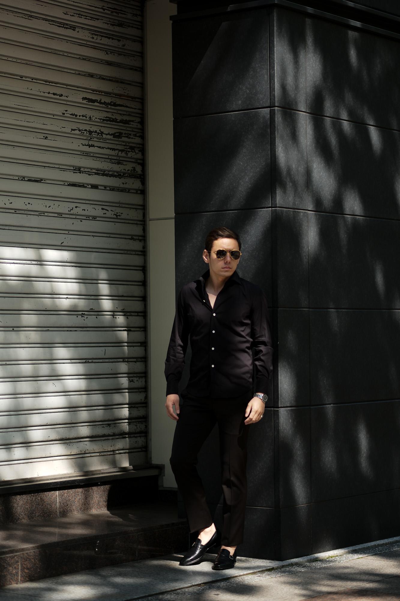 Finamore (フィナモレ) SEUL ITALIAN COLOR STRETCH COTTON SHIRTS ストレッチコットン ワンピースカラー シャツ BLACK (ブラック) made in italy (イタリア製) 2020 春夏新作 愛知 名古屋 altoediritto アルトエデリット