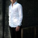 Finamore (フィナモレ) SEUL ITALIAN COLOR STRETCH COTTON SHIRTS ストレッチコットン ワンピースカラー シャツ WHITE (ホワイト・01) made in italy (イタリア製) 2020 秋冬 【ご予約開始】のイメージ