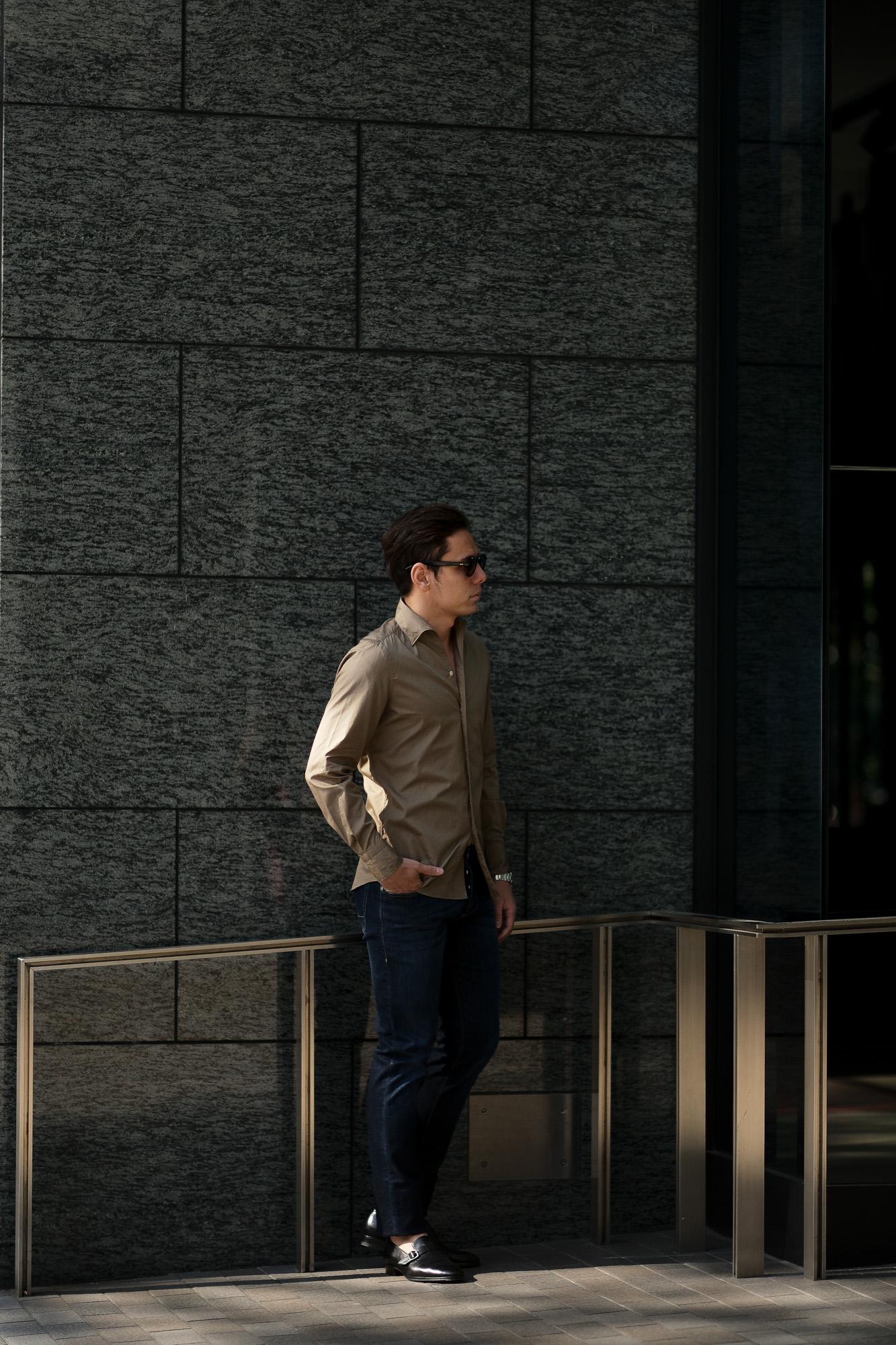 Finamore (フィナモレ) SEUL ITALIAN COLOR COTTON POPLIN SHIRTS コットンポプリン ワンピースカラー シャツ BEIGE (ベージュ・39) made in italy (イタリア製) 2020 春夏新作 愛知 名古屋 altoediritto アルトエデリット