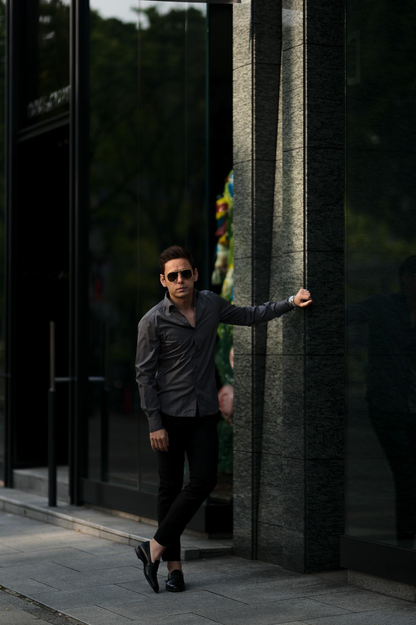 """Finamore (フィナモレ) SEUL ITALIAN COLOR COTTON POPLIN SHIRTS コットンポプリン ワンピースカラー シャツ GRAY (グレー・42) made in italy (イタリア製) 2020 春夏新作 愛知 名古屋 altoediritto アルトエデリット"""" width=""""1"""