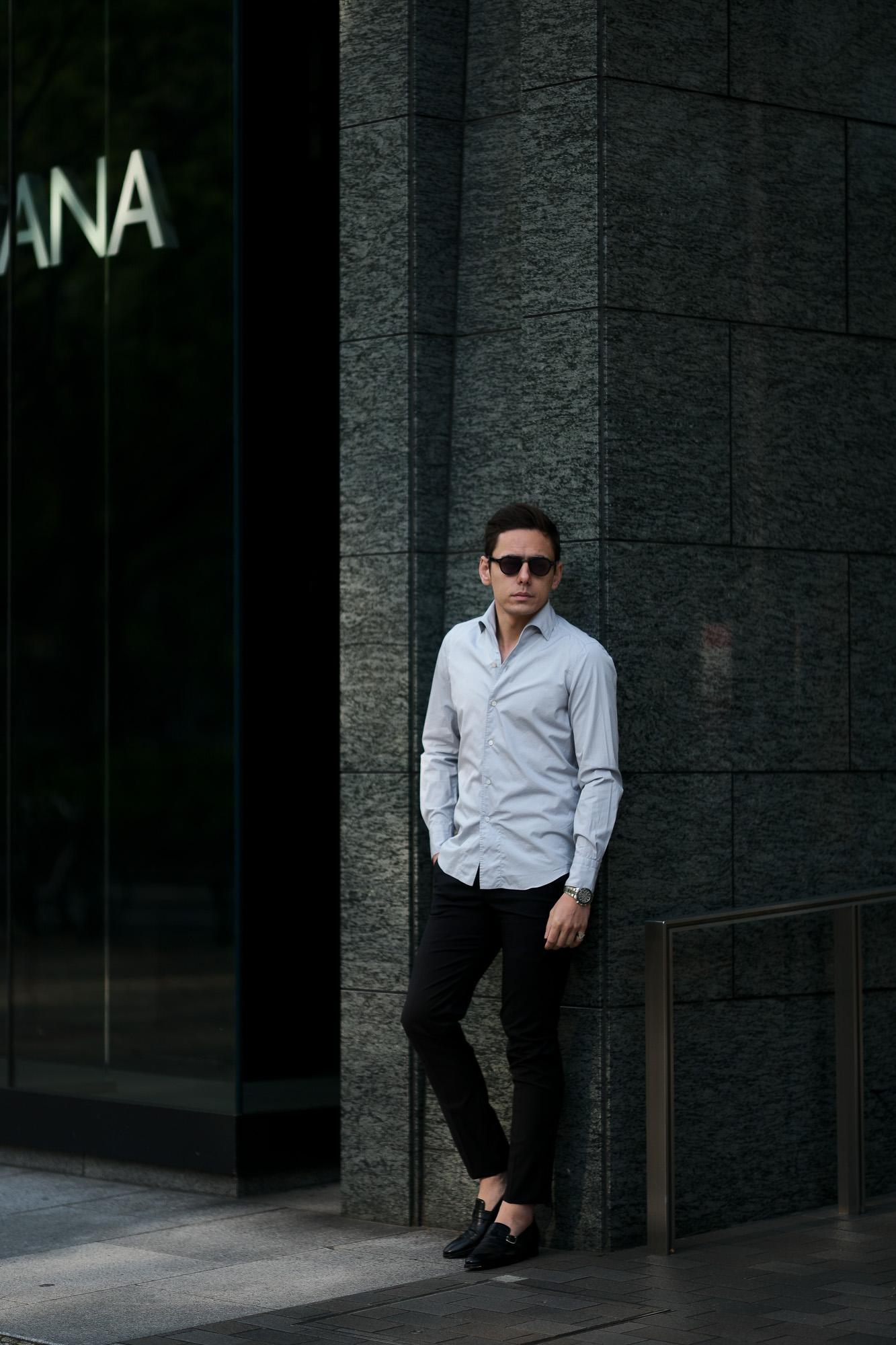Finamore (フィナモレ) SEUL ITALIAN COLOR COTTON POPLIN SHIRTS コットンポプリン ワンピースカラー シャツ LIGHT GRAY (ライトグレー・41) made in italy (イタリア製) 2020 春夏新作 愛知 名古屋 altoediritto アルトエデリット