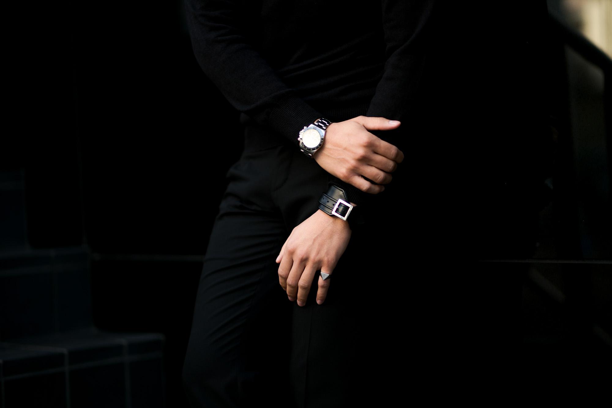 FIXER(フィクサー) LEATHER BRACELET 925 STERLING SILVER(925 スターリングシルバー) カーフ レザー ブレスレット BLACK (ブラック) 愛知 名古屋 altoediritto アルトエデリット クロコダイル ブレスレット バングル
