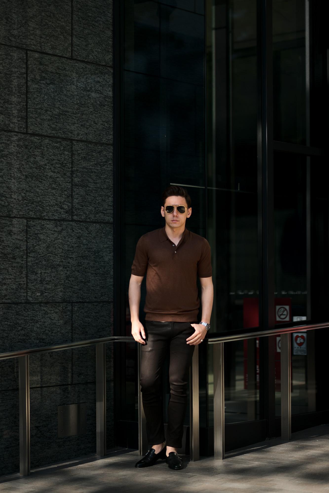 Gran Sasso (グランサッソ) Silk Knit Polo Shirt (シルクニットポロシャツ) SETA (シルク 100%) シルク ニット ポロシャツ GOLD (ゴールド・170) made in italy (イタリア製) 2020 春夏新作  愛知 名古屋 altoediritto アルトエデリット