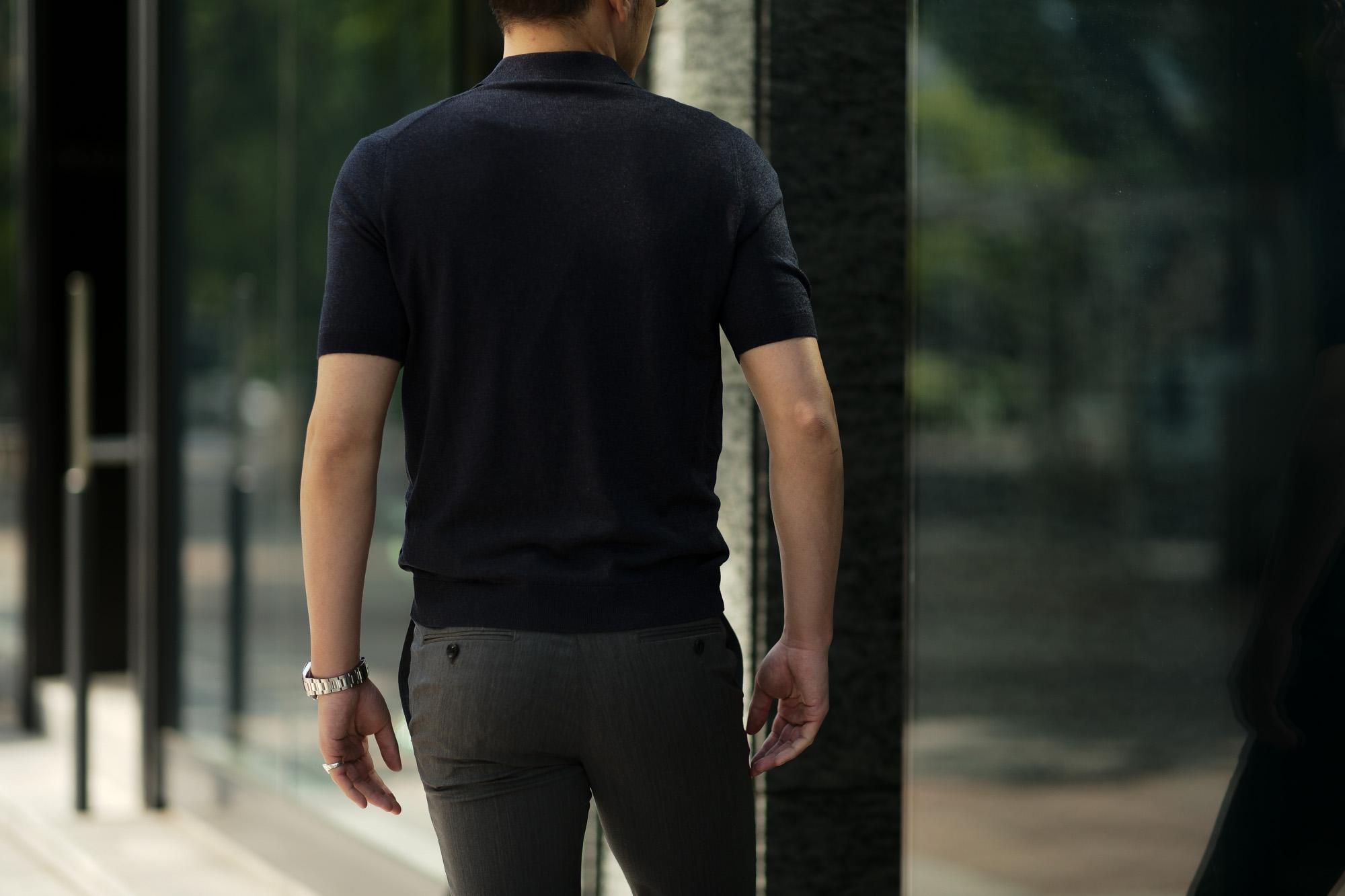 Gran Sasso (グランサッソ) Silk Knit Polo Shirt (シルクニットポロシャツ) SETA (シルク 100%) シルク ニット ポロシャツ NAVY (ネイビー・597) made in italy (イタリア製) 2020 春夏新作 愛知 名古屋 altoediritto アルトエデリット