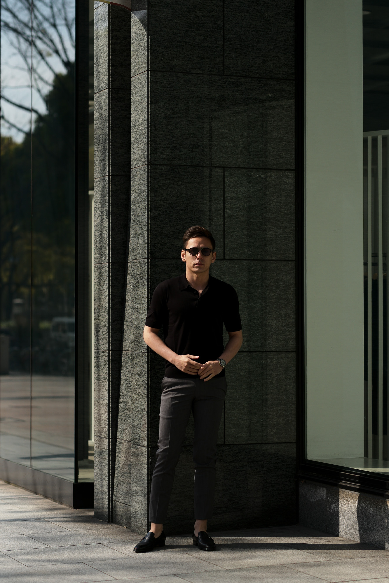 Gran Sasso (グランサッソ) Silk Knit Polo Shirt (シルクニットポロシャツ) SETA (シルク 100%) シルク ニット ポロシャツ BLACK (ブラック・099) made in italy (イタリア製) 2020 春夏新作  愛知 名古屋 altoediritto アルトエデリット
