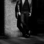 ISAMU KATAYAMA BACKLASH (イサムカタヤマ バックラッシュ) French Deerskin Stretch Leather Pants (フレンチ ディアスキン ストレッチ パンツ) ディアスキン ストレッチ レザー スキニーパンツ BLACK (ブラック) MADE IN JAPAN (日本製) 2020 秋冬のイメージ