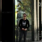 lucien pellat-finet(ルシアン ペラフィネ) Skull Sunglasses Cashmere Sweater (スカル サングラス カシミア セーター) インターシャ カシミア スカル セーター BLACK × GREY (ブラック × グレー) made in scotland (スコットランド製) 2020 春夏新作のイメージ