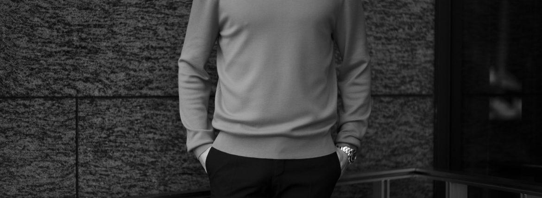 MANRICO CASHMERE (マンリコ カシミア) Super Cashmere Crew Neck Sweater (スーパーカシミア クルーネック セーター) ハイゲージ アラシャンカシミヤニット セーター BLACK (ブラック) made in italy (イタリア製) 2020 秋冬 【ご予約受付中】愛知 名古屋 altoediritto アルトエデリット manricocashmere マンリコカシミア