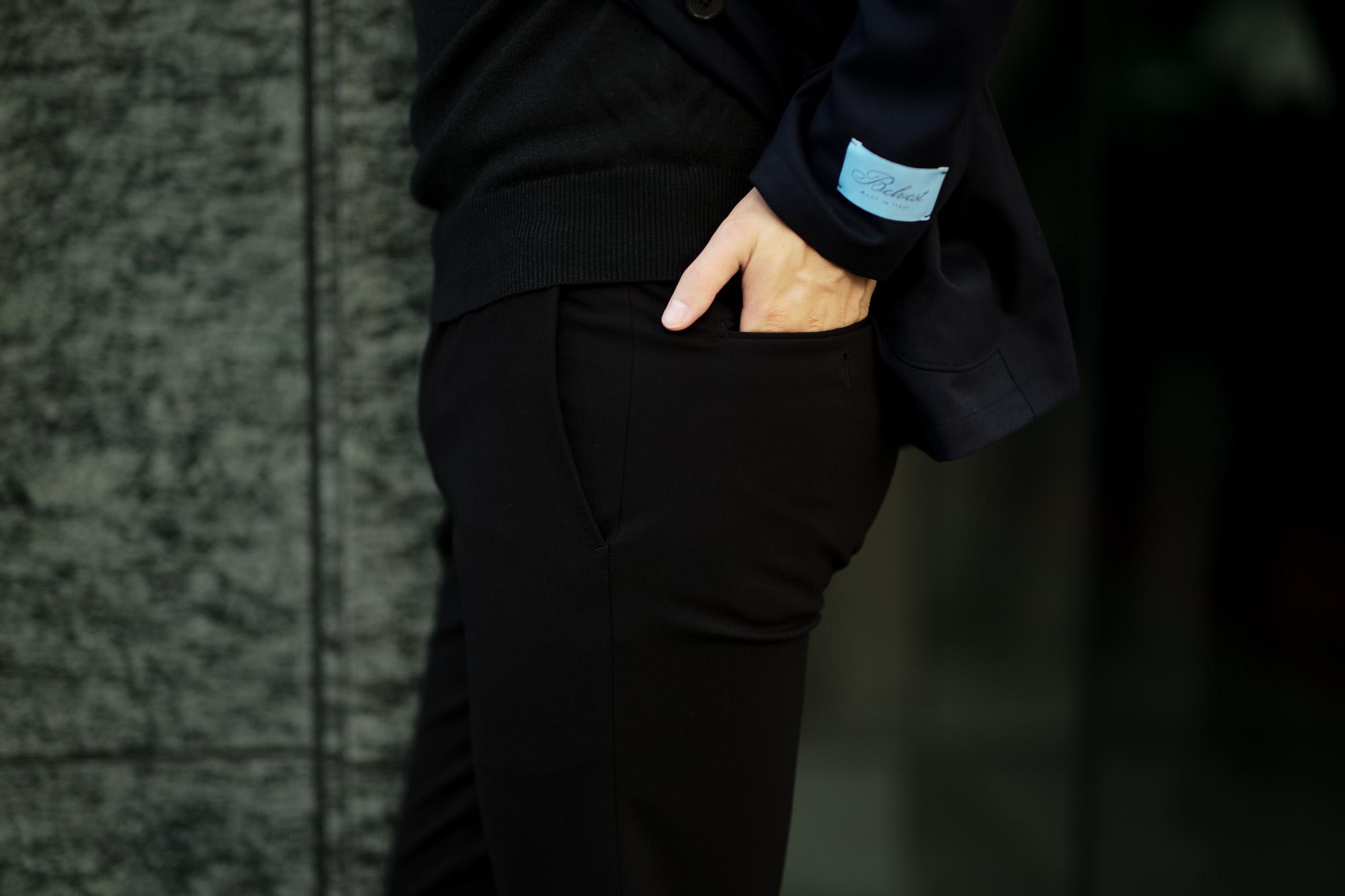 cuervo bopoha (クエルボ ヴァローナ) Sartoria Collection (サルトリア コレクション) Brad (ブラッド) 2WAY SUPER COMFORT JERSEY ストレッチ ジャージ スラックス BLACK (ブラック) MADE IN JAPAN (日本製) 2020 秋冬 愛知 名古屋 altoediritto アルトエデリット 黒スラックス スラックスコーデ