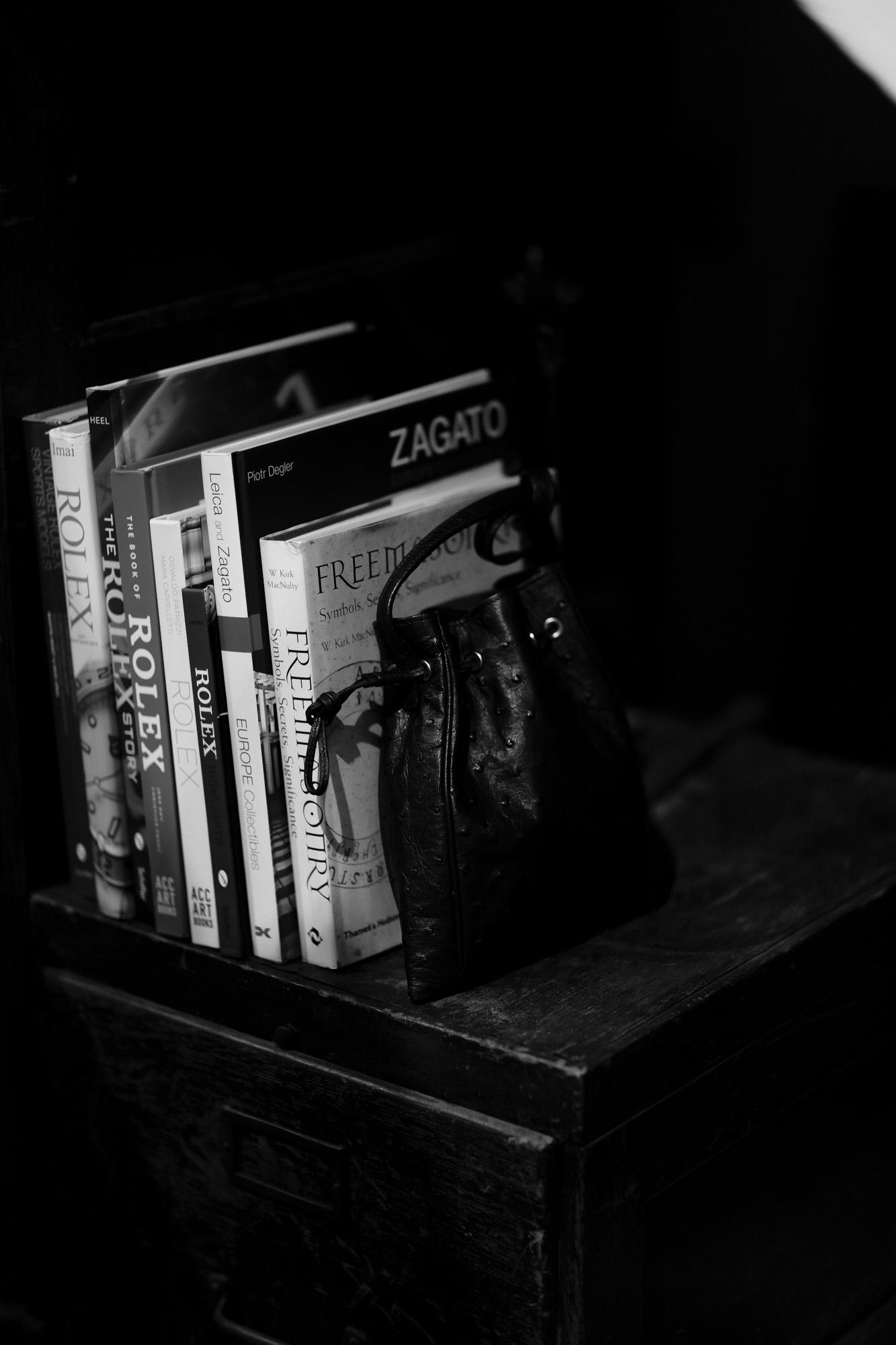 cuervo bopoha (クエルボ ヴァローナ) FLOYD (フロイド) Ostrich Leather (オーストリッチレザー) レザードローストリングバック 巾着 BLACK (ブラック) Made in Japan (日本製) 2020秋冬【Special Model】 愛知 名古屋 altoediritto アルトエデリット レザーバック スモールバック エキゾチックレザー