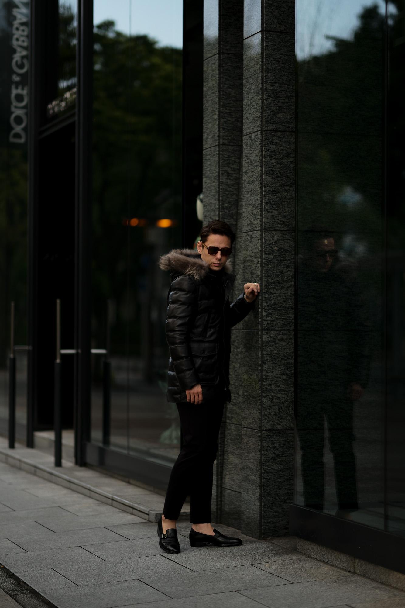 EMMETI(エンメティ) THIAGO (ティアゴ) Lambskin Nappa Silk Leather (ラムナッパシルクレザー) レザーダウンコート NERO (ブラック) Made in italy (イタリア製) 2020 秋冬 【ご予約受付中】愛知 名古屋 altoediritto アルトエデリット ダウンコート ダウンジャケット