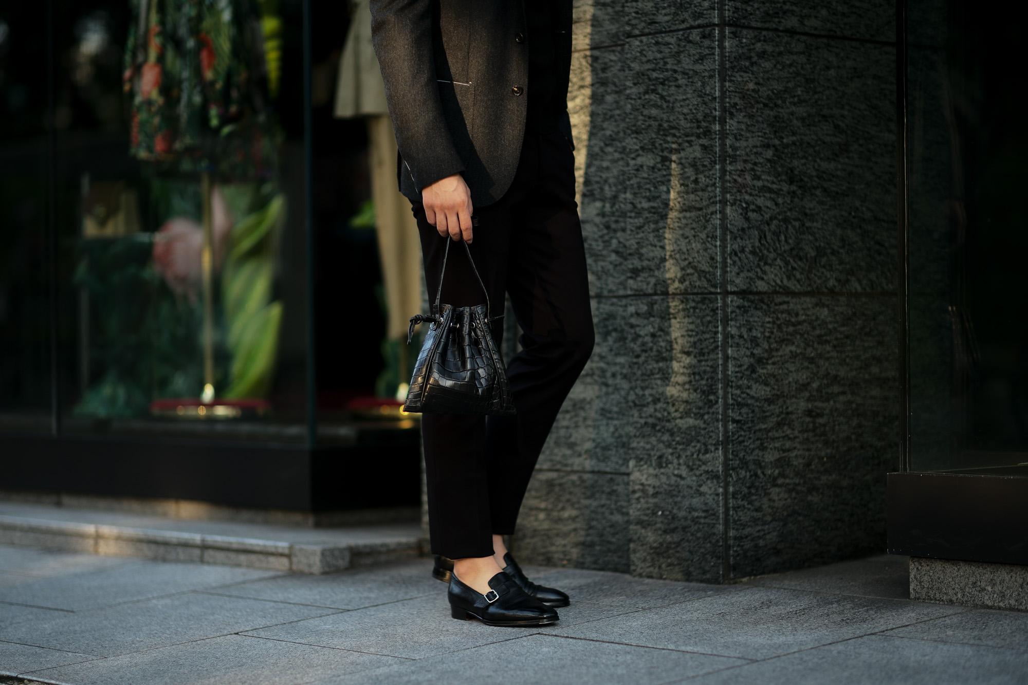 cuervo bopoha(クエルボ ヴァローナ) FLOYD(フロイド) Crocodile Leather(クロコダイルレザー) レザードローストリングバック 巾着 BLACK (ブラック) Made in Japan(日本製) 2020【Special Model】 愛知 名古屋 altoediritto アルトエデリット