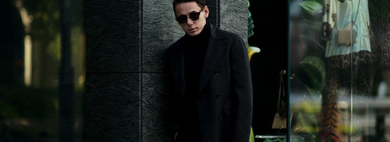 De Petrillo(デ ペトリロ) Bonifacio (ボニファシオ) ヘリンボーンカシミアツイード 6B ダブルチェスターコート BLACK (ブラック・322) Made in italy (イタリア製)  2020 秋冬 【ご予約受付中】のイメージ