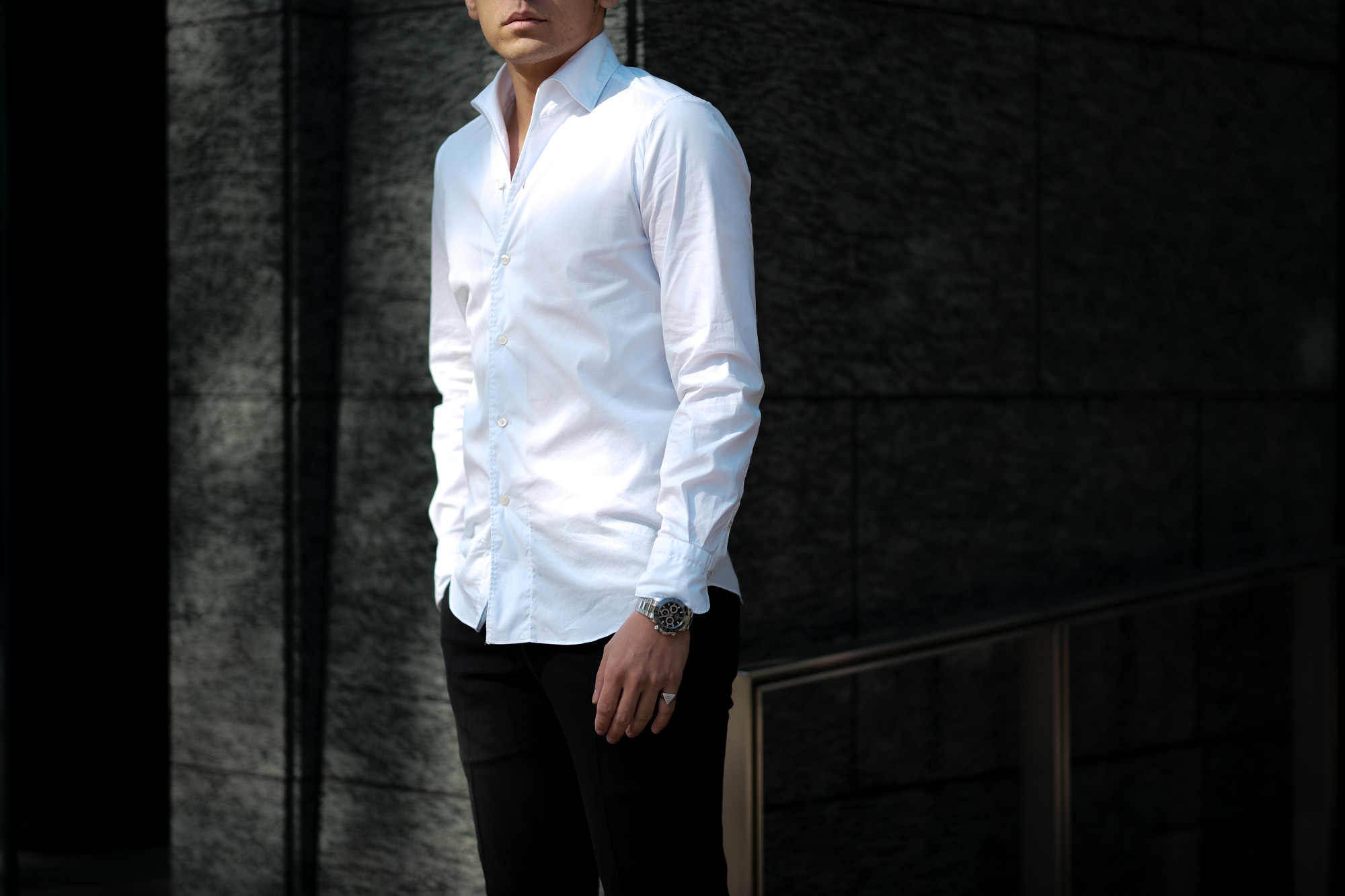 Finamore / フィナモレ (2021 春夏 プレ 展示会) 愛知 名古屋 altoediritto アルトエデリット シャツ 長袖シャツ ストライプシャツ 黒ストライプ ドレスシャツ