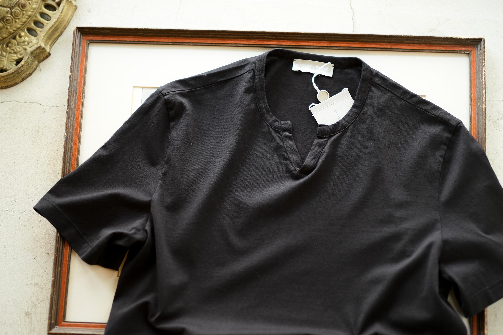 Girelli Bruni (ジレリブルーニ) Key Neck T-shirt (キーネック Tシャツ) GIZA 60/2 ギザコットン キーネックTシャツ BLACK (ブラック) made in italy (イタリア製) 2020秋冬新作 girellibruni 愛知 名古屋 altoediritto アルトエデリット alto e diritto