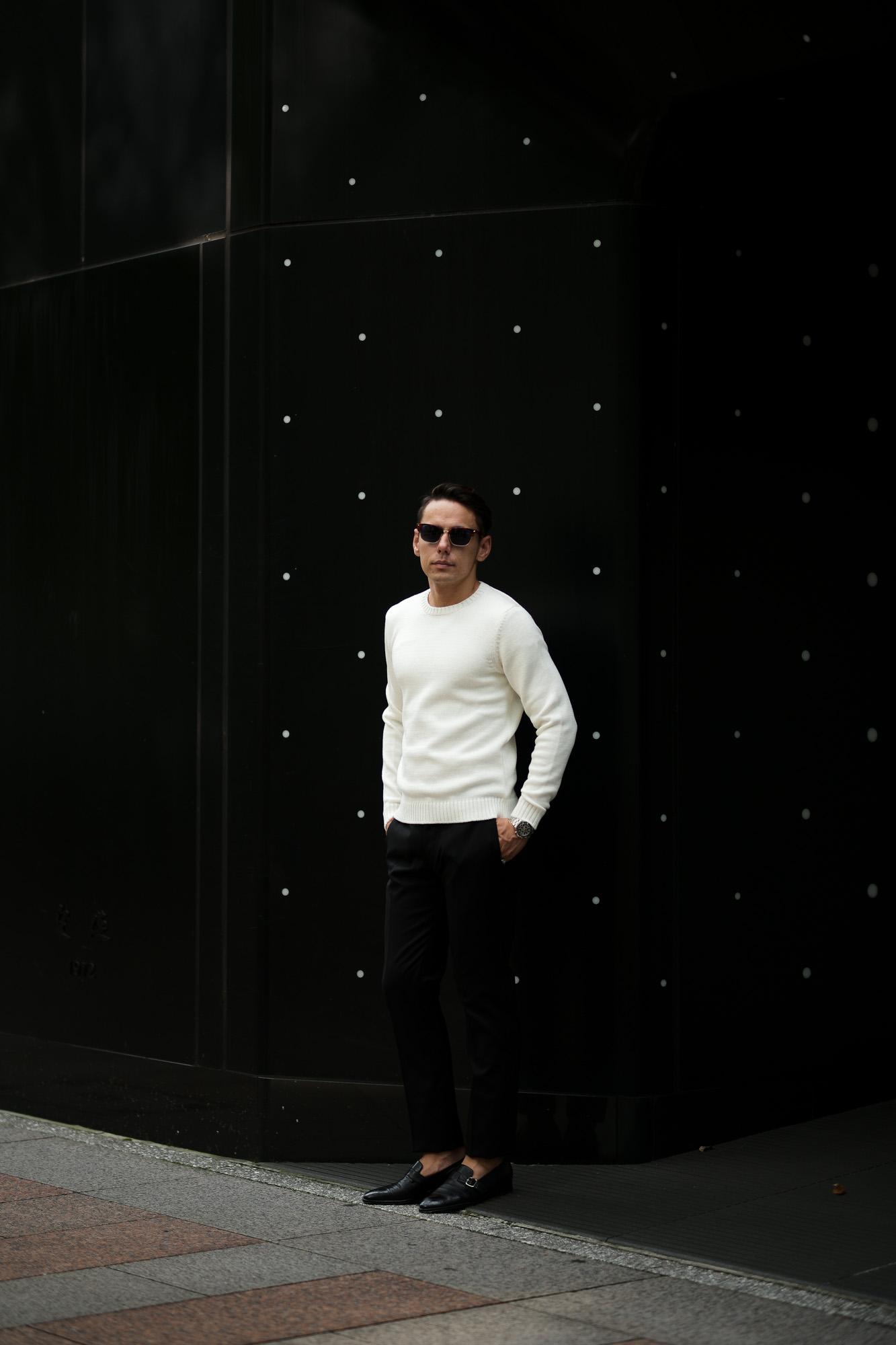 ZANONE(ザノーネ) Crew Neck Sweater (クルーネック セーター) VIRGIN WOOL 100% ミドルゲージ ウールニット セーター WHITE (ホワイト・Z3623) made in italy (イタリア製) 2020 秋冬 【ご予約受付中】愛知 名古屋 altoediritto アルトエデリット タートル