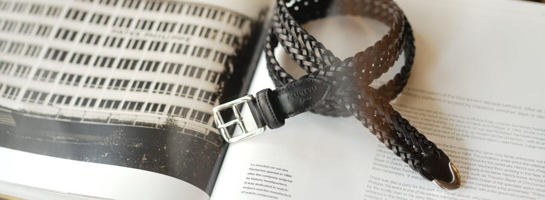 cuervo bopoha (クエルボ ヴァローナ) Sartoria Collection (サルトリア コレクション) Lance (ランス) Cow Hide Leather (カウハイド レザー) メッシュベルト BLACK (ブラック) Made in Italy (イタリア製) 2020 秋冬 【ご予約受付中】のイメージ