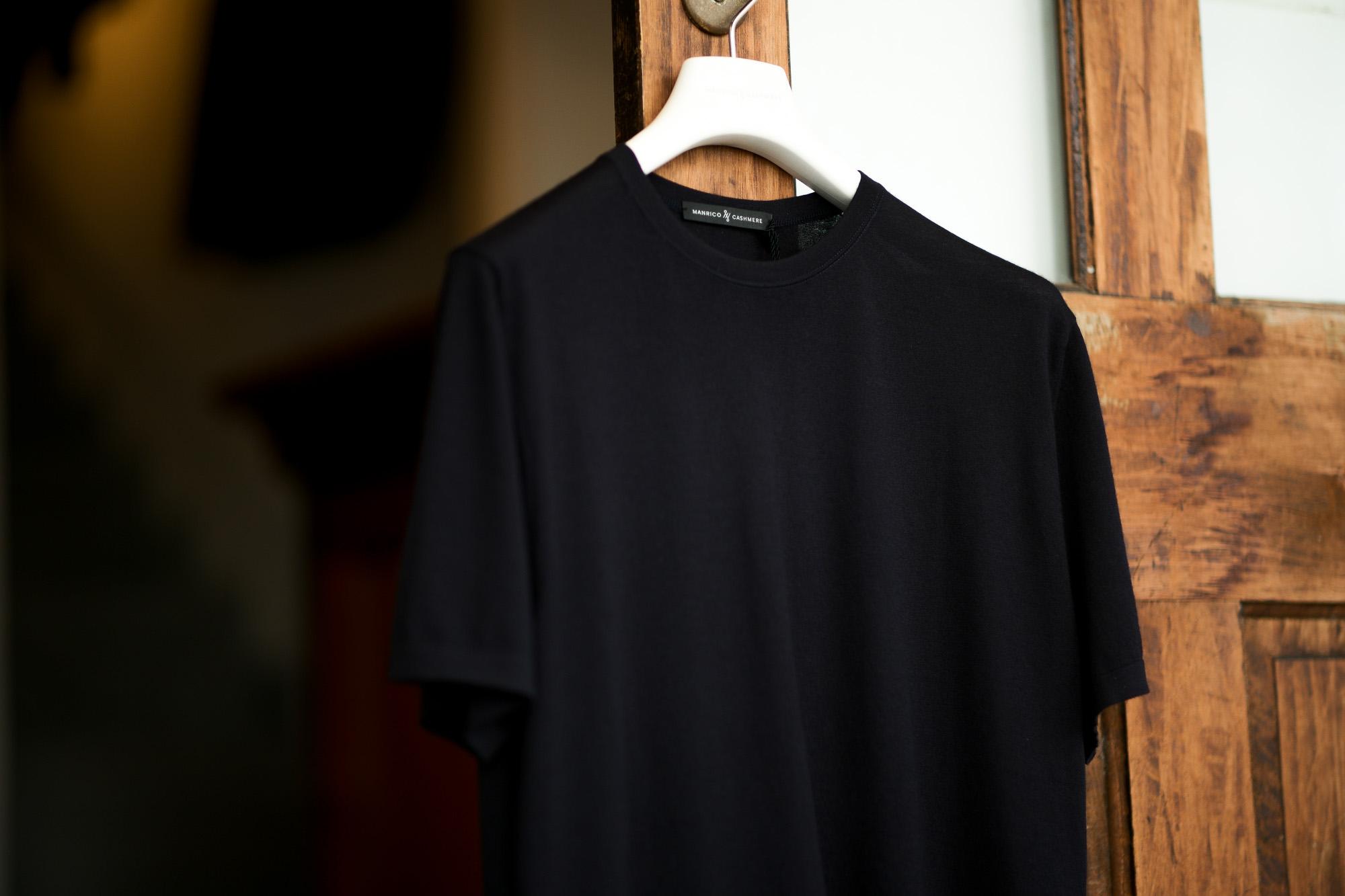 MANRICO CASHMERE (マンリコ カシミア) Summer Cashmere Crew Neck T-Shirts (サマー カシミア クルーネック Tシャツ) サマー カシミヤ Tシャツ BLACK (ブラック) made in italy (イタリア製) 2021 春夏 【ご予約開始】 愛知 名古屋 Alto e Diritto アルトエデリット