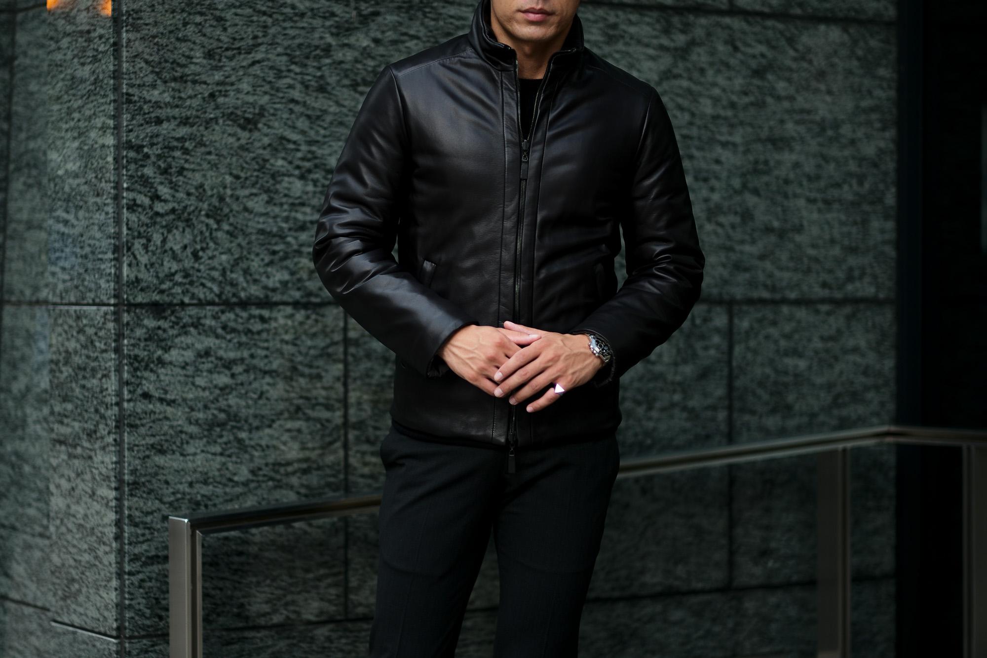 ALTACRUNA (アルタクルーナ) Reversible Leather Padded Jacket (リバーシブル レザー パデッド ジャケット) Lamb Leather (ラムレザー) レザー × ナイロン リバーシブル ジャケット NERO (ブラック・0010) Made in italy (イタリア製) 2020 秋冬新作 愛知 名古屋 Alto e Diritto アルトエデリット
