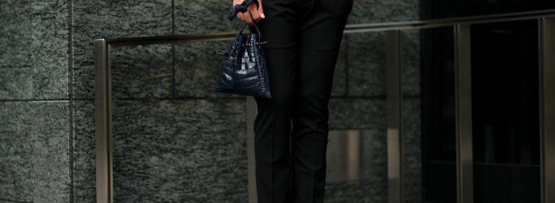 cuervo bopohaクエルボ ヴァローナ FLOYDフロイド Crocodile Leatherクロコダイルレザー レザードローストリングバック 巾着 NAVY ネイビー Made in Japan日本製 2020 Special Model 愛知 名古屋 altoediritto アルトエデリット