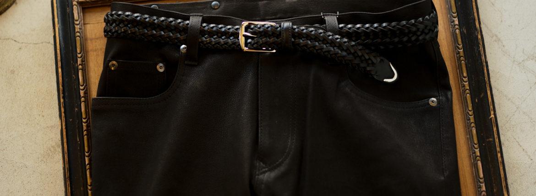 cuervo bopoha (クエルボ ヴァローナ) Sartoria Collection (サルトリア コレクション) Lance (ランス) Cow Hide Leather (カウハイド レザー) メッシュベルト BLACK (ブラック) Made in Italy (イタリア製) 2020 秋冬 愛知 名古屋 altoediritto アルトエデリット ベルト 編み込みベルト