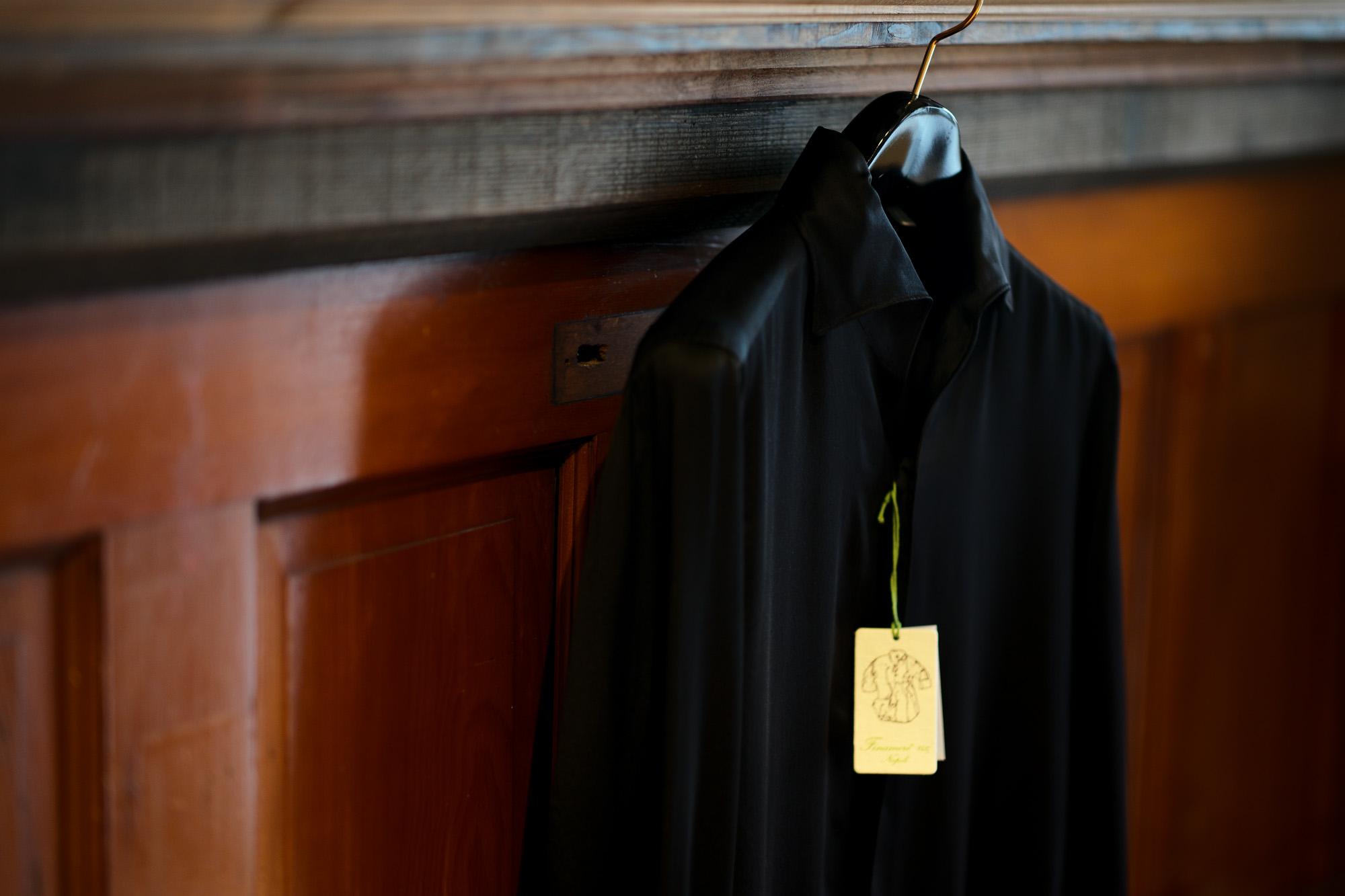 Finamore (フィナモレ) SEUL ITALIAN COLOR SILK SHIRTS シルク ワンピースカラー シャツ BLACK (ブラック・7) made in italy (イタリア製) 2020 秋冬新作 シルクシャツ 愛知 名古屋 Alto e Diritto アルトエデリット altoediritto