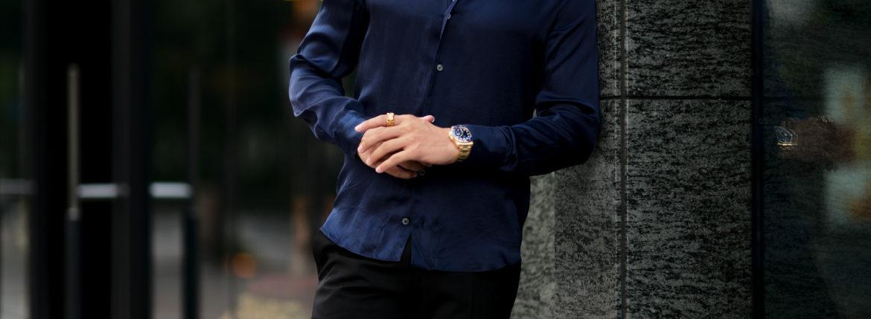 Finamore (フィナモレ) SEUL ITALIAN COLOR SILK SHIRTS シルク ワンピースカラー シャツ NAVY (ネイビー・5) made in italy (イタリア製) 2020 秋冬新作 シルクシャツ 愛知 名古屋 Alto e Diritto アルトエデリット altoediritto