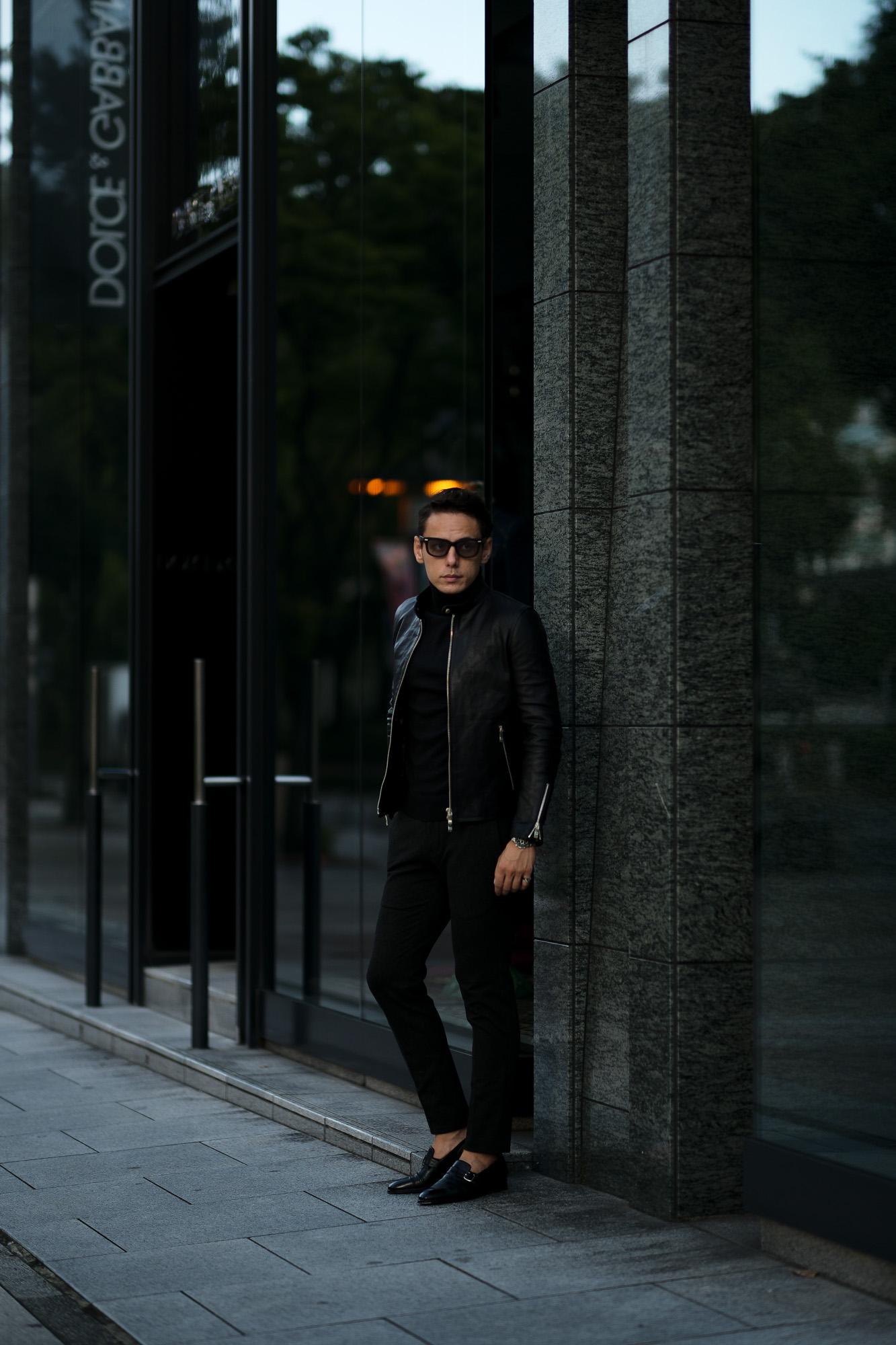 ISAMU KATAYAMA BACKLASH The Line (イサムカタヤマ バックラッシュ ザ・ライン) GUIDI CALF SINGLE RIDERS No.T-201 (グイディ カーフ シングルライダース) 925 STERLING SILVER (925 スターリングシルバー) レザー シングルライダース ジャケット BLACK (ブラック) MADE IN JAPAN (日本製) 2020 秋冬 【Special Model】愛知 名古屋 altoediritto アルトエデリット