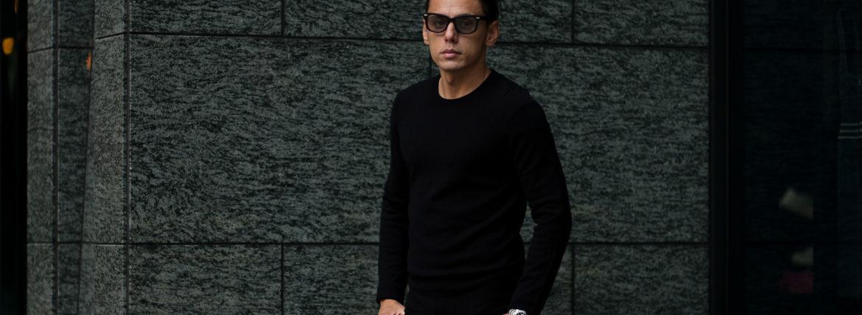lucien pellat-finet(ルシアン ペラフィネ) Cashmere Crew Neck Sweater カシミア クルーネック セーター BLACK (ブラック) made in scotland (スコットランド製) 2020 秋冬新作のイメージ