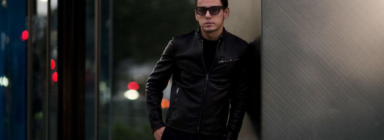 MOLEC (モレック) Single Leather Jacket (シングル レザージャケット) PLONGE Lambskin プロンジェラムレザー シングル ライダース ジャケット NERO (ブラック) Made in italy (イタリア製) 2020 秋冬 【ご予約受付中】のイメージ
