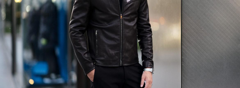MOLEC (モレック) Single Leather Jacket (シングル レザージャケット) PLONGE Lambskin プロンジェラムレザー シングル ライダース ジャケット NERO (ブラック) Made in italy (イタリア製) 2020 秋冬新作のイメージ