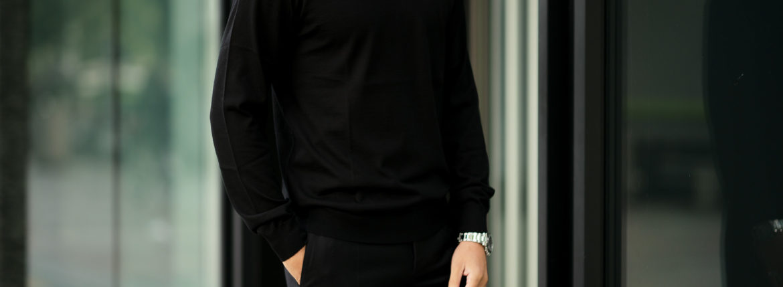 30/70 trentasettanta (トレンタセッタンタ) ottimo #7414 (クルーネック プルオーバー) 21ゲージ シルクカシミア ニット セーター BLACK (ブラック) MADE IN JAPAN (日本製) 2020秋冬新作 【入荷しました】【フリー分発売開始】のイメージ