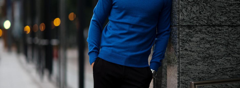 cuervo bopoha (クエルボ ヴァローナ) Sartoria Collection (サルトリア コレクション) John (ジョン) 12G WOOL (12ゲージウール) タートルネック セーター BLUE (ブルー) MADE IN JAPAN (日本製) 2020 秋冬新作 【Special Color】のイメージ