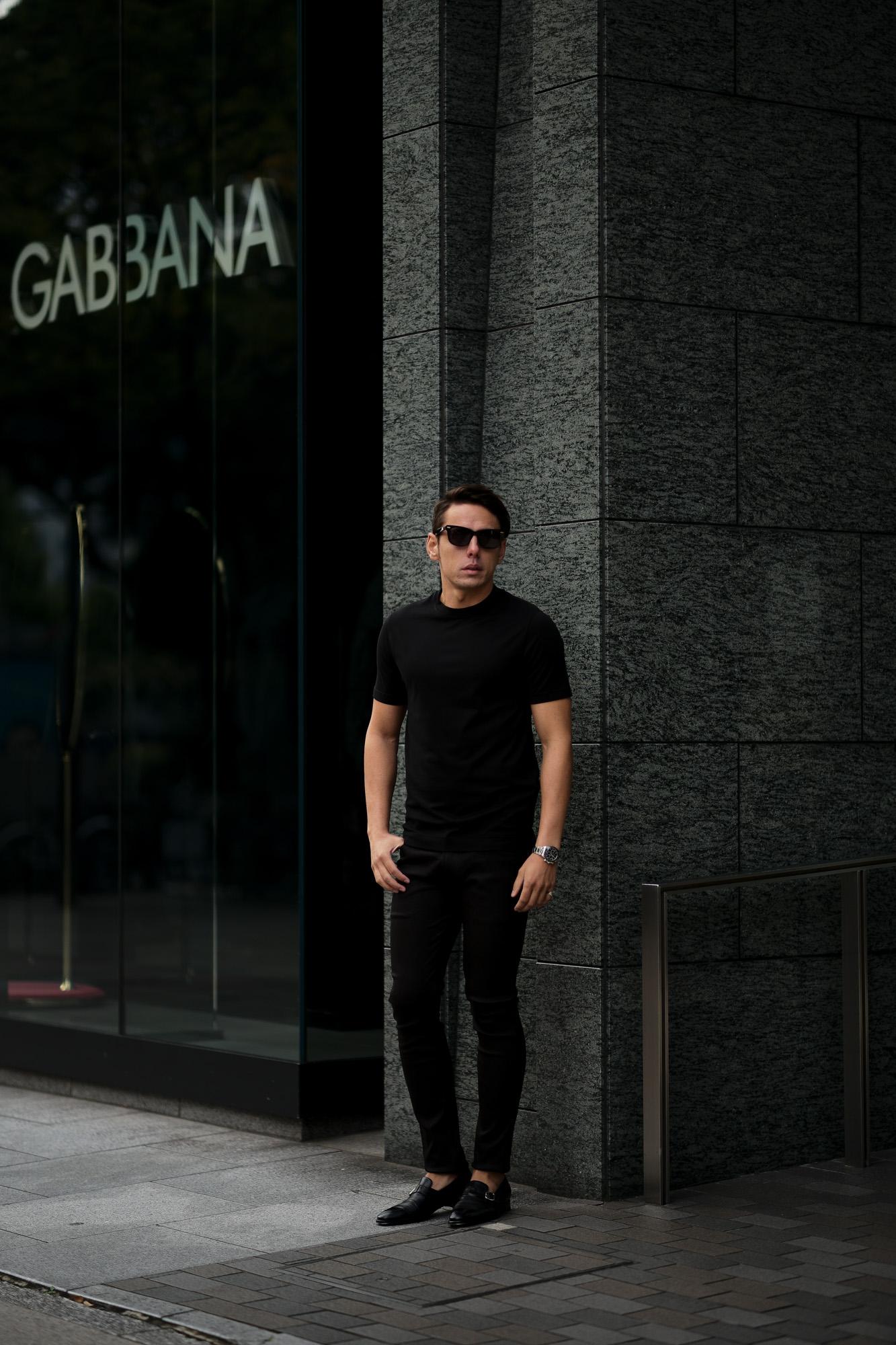 FEDELI(フェデリ) Crew Neck T-shirt (クルーネック Tシャツ) ギザコットン Tシャツ BLACK (ブラック・36) made in italy (イタリア製) 2021 春夏【ご予約受付中】 愛知 名古屋 altoediritto アルトエデリット スペシャルモデル TEE 半袖Tシャツ