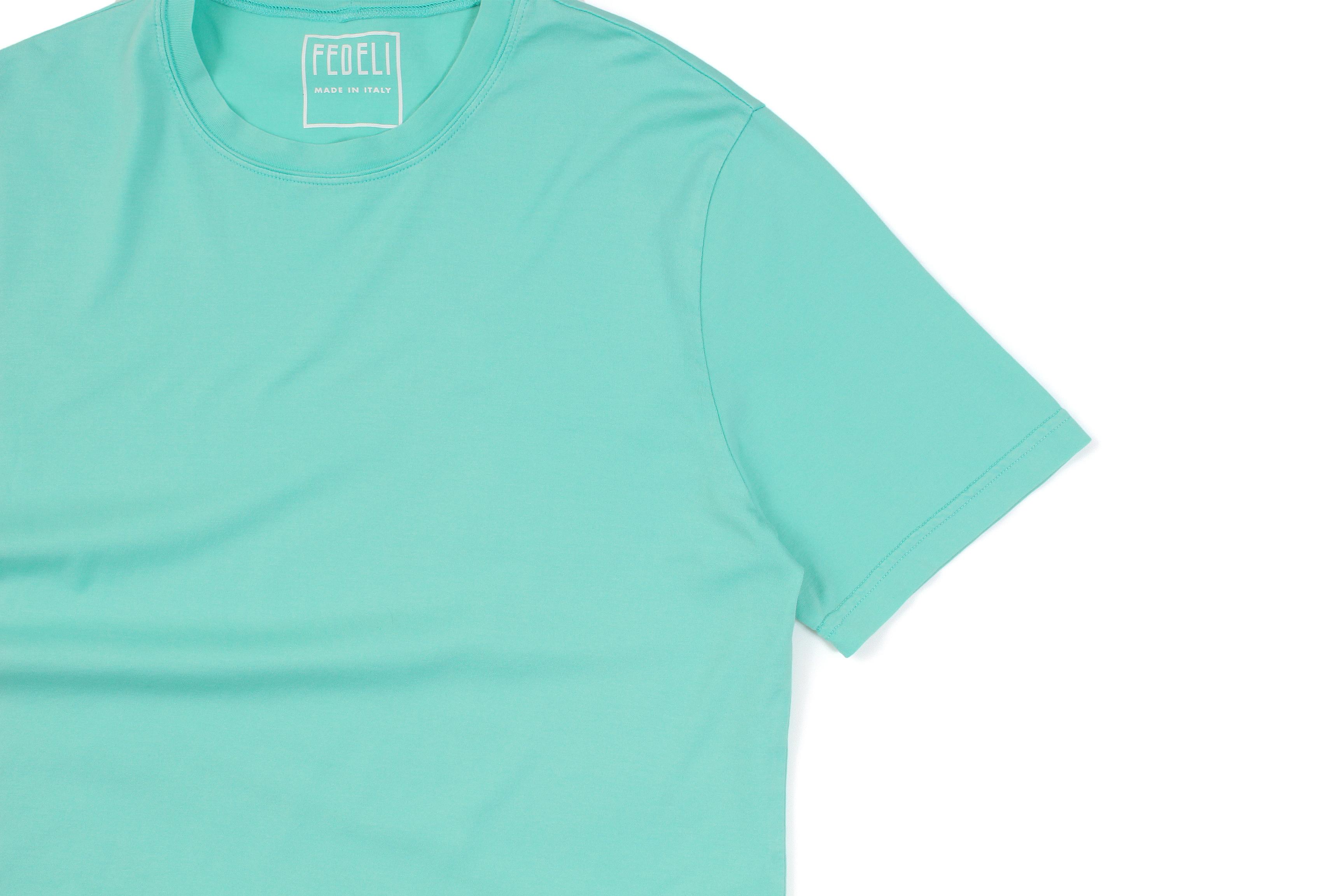 FEDELI(フェデーリ) Crew Neck T-shirt (クルーネック Tシャツ) ギザコットン Tシャツ TIFFANY (ティファニーブルー・66) made in italy (イタリア製) 2021 春夏 【Special Color】【ご予約開始】愛知 名古屋 altoediritto アルトエデリット スペシャルモデル TEE 半袖Tシャツ