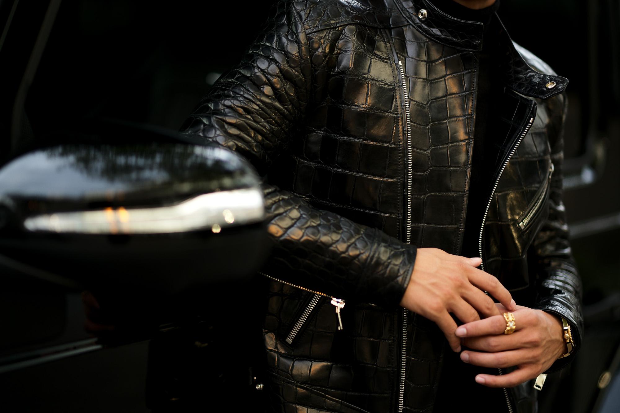 FIXER(フィクサー) F1 CROCODILE(エフワン クロコダイル) DOUBLE RIDERS Crocodile クロコダイル エキゾチックレザー ダブルライダース ジャケット BLACK(ブラック) 【Special Special Special Model】愛知 名古屋 Alto e Diritto アルトエデリット