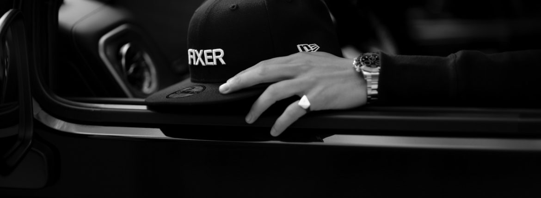 FIXER × NEW ERA (フィクサー × ニューエラ) 59FIFTY® FNE-01 ベースボールキャップ BLACK × WHITE (ブラック × ホワイト) 【Special Special Special Model】愛知 名古屋 Alto e Diritto アルトエデリット 帽子 キャップ Wネーム スペシャルコラボ