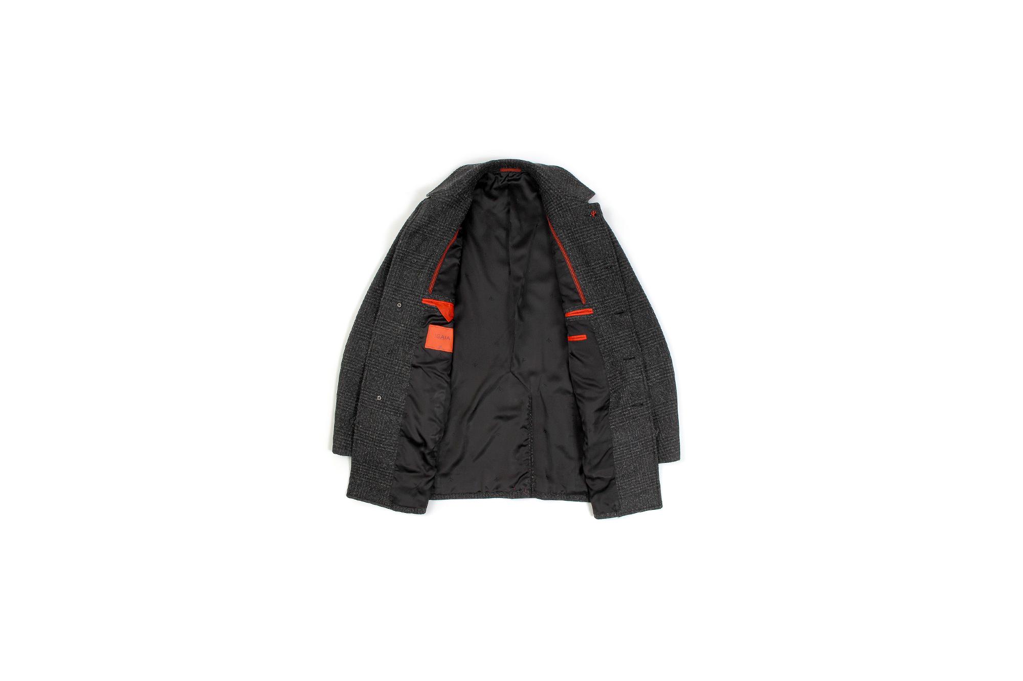ISAIA (イザイア) CAPPOTTO (カッポット) グレンチェック フラノウール カーコート BLACK (ブラック・990) Made in italy (イタリア製) 2020 秋冬新作 愛知 名古屋 altoediritto アルトエデリット