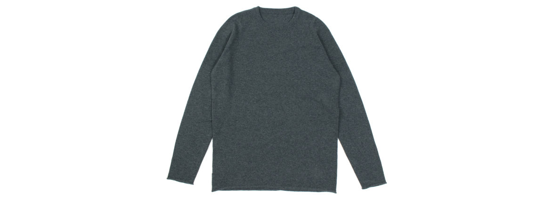 lucien pellat-finet(ルシアン ペラフィネ) Cashmere Crew Neck Sweater カシミア クルーネック セーター DERBY GREY (チャコールグレー) made in scotland (スコットランド製) 2020 春夏新作 愛知 名古屋 altoediritto アルトエデリット lucienpellatfinet インターシャ 無地