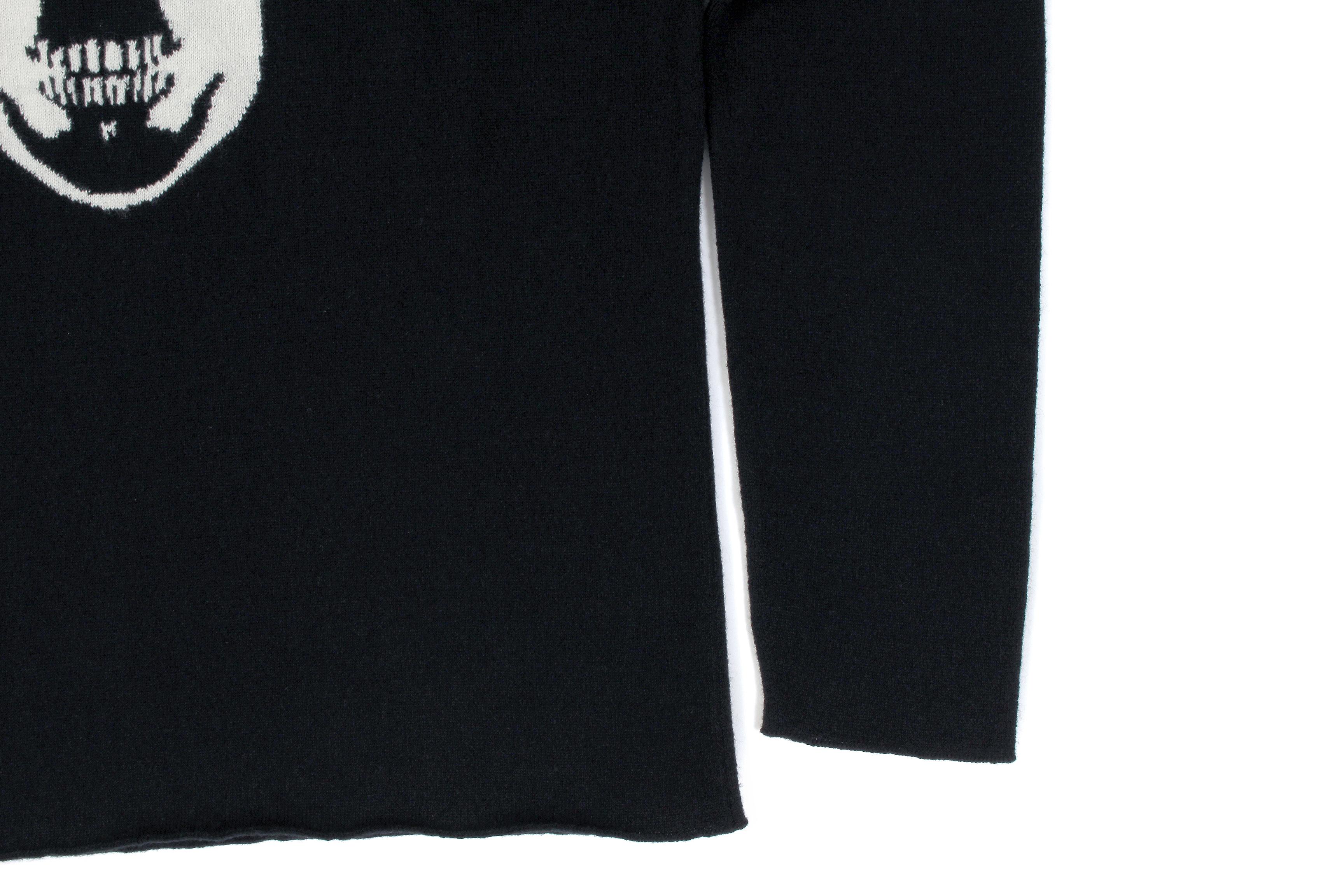 lucien pellat-finet (ルシアン ペラフィネ) Skull With Crystal Squat Cashmere Sweater (スカルクリスタル カシミア セーター) インターシャ カシミア スカル セーター BLACK × WHITE(ブラック×ホワイト) made in scotland (スコットランド製) 2020 秋冬新作 【Special Model】【入荷しました】【フリー分発売開始】Alto e Diritto altoediritto アルトエデリット 愛知 名古屋 カシミヤ カシミア