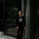 lucien pellat-finet (ルシアン ペラフィネ) Skull With Crystal Star Flash Sweater (スカル クリスタル スター フラッシュ カシミア セーター)  インターシャ カシミア スカル セーター BLACK × WHITE(ブラック×ホワイト) made in scotland (スコットランド製) 2020 秋冬新作 【Special Model】【入荷しました】【フリー分発売開始】のイメージ