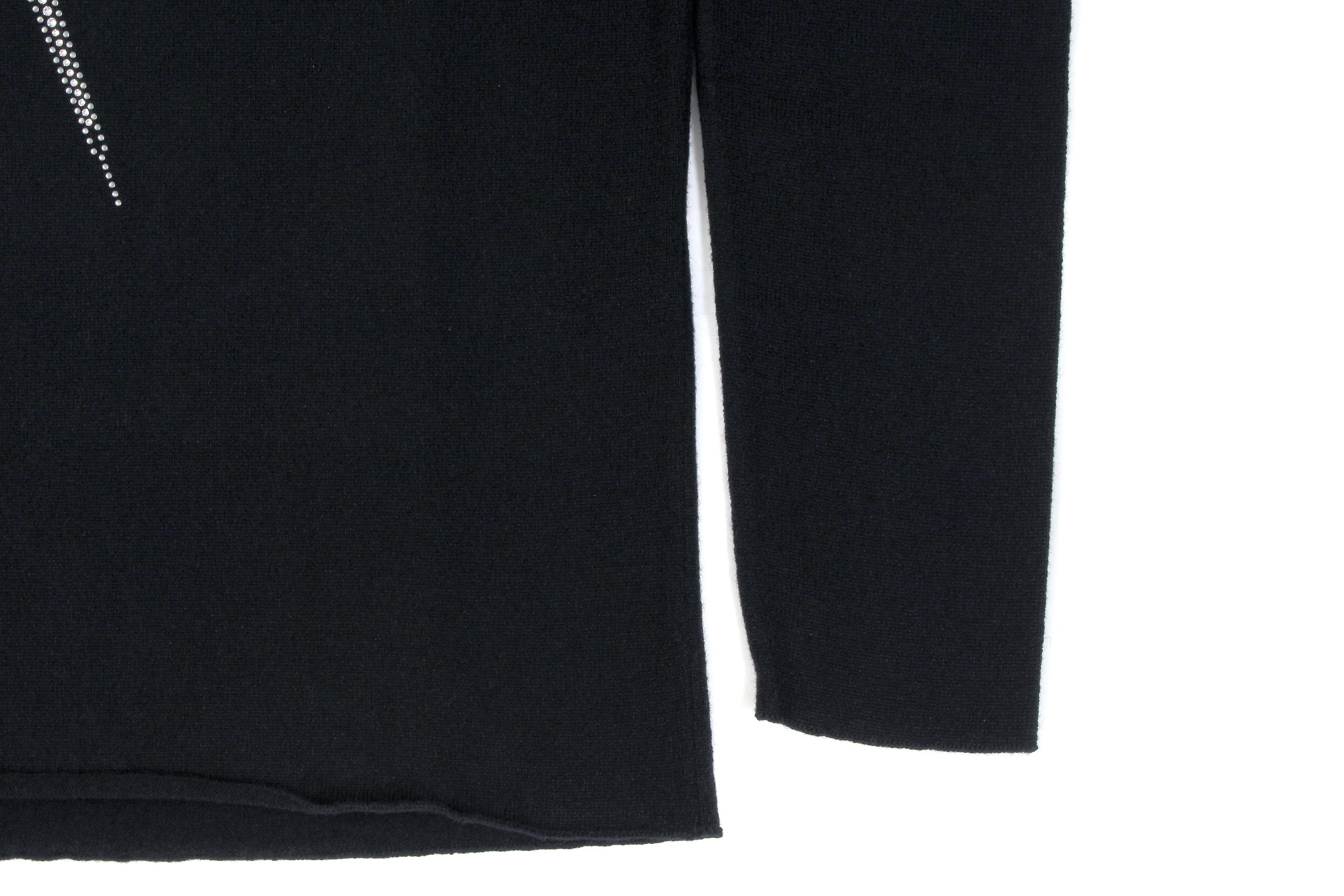 lucien pellat-finet (ルシアン ペラフィネ) Skull With Crystal Star Flash Sweater (スカル クリスタル スター フラッシュ カシミア セーター)  インターシャ カシミア スカル セーター BLACK × WHITE(ブラック×ホワイト) made in scotland (スコットランド製) 2020 秋冬新作 【Special Model】【入荷しました】【フリー分発売開始】 Alto e Diritto altoediritto アルトエデリット 愛知 名古屋 カシミヤ カシミア