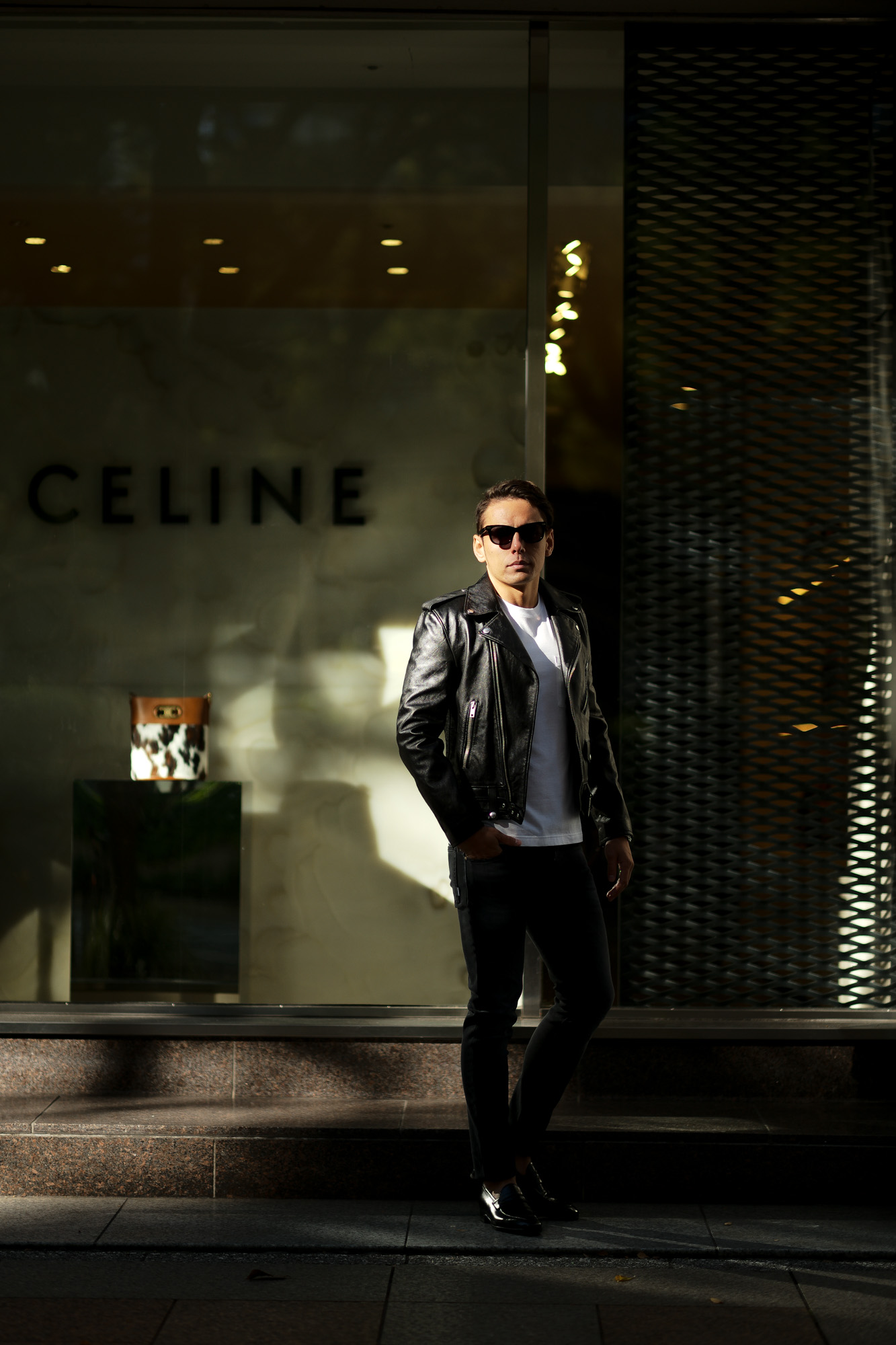 CELINE (セリーヌ) CLASSIC BIKER CALF SKIN (クラシックバイカー カーフスキン) カーフレザー ダブル ライダース ジャケット BLACK (ブラック) Made in italy (イタリア製) 2020 秋冬新作 愛知 名古屋 Alto e Diritto altoediritto アルトエデリット 44 46 48 50 52 54