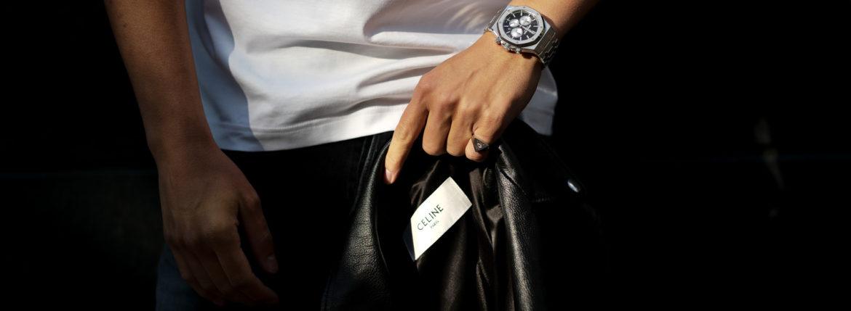 CELINE (セリーヌ) CLASSIC BIKER CALF SKIN (クラシックバイカー カーフスキン) カーフレザー ダブル ライダース ジャケット BLACK (ブラック) Made in italy (イタリア製) 2020 秋冬新作のイメージ